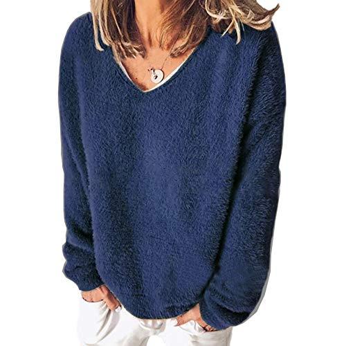 Herbst- Und Winter-Damen-Langarm-T-Shirt-Pullover Mit V-Ausschnitt