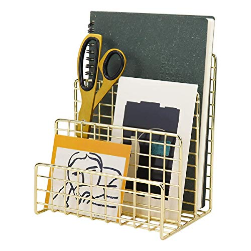 Leoriso マガジンラック ゴールド 机上 三段 多機能 金属製 ファイルスタンド 手作り 縦型 ブックエンド インテリア 書類入れ 封筒・ファイル・新聞・本・手紙 整理整頓 家庭 オフィス 机