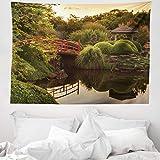 ABAKUHAUS Giapponese Tappeto da Parete e Copriletto, Giardino Asia Pace, Lavabile e Senza Colori sbiaditi, 150 x 110 cm, Verde Giallo