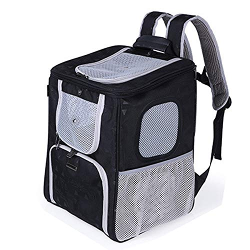 Pet Backpack for Cats and Dogs On-Board Portable Backpacks with Breathable Mesh Ports for Dogs to Go Out and Carry Bags, Shopping Baskets, Shopping Malls,Black