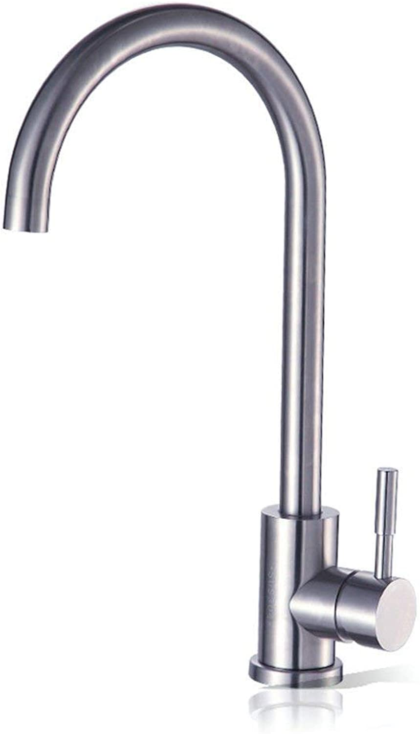 Oudan Kitchen Mixer tap Kitchen Sink tap hot and Cold Water, 304 Stainless Steel Sink Mixer (color   -, Size   -)