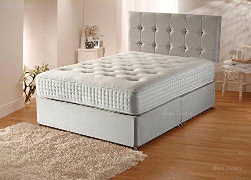 Sleep Factory Ltd Plush Velvet Divan Bed Set with Orthopaedic Mattress,Headboard and 2 Free Bed Drawers, 5FT Kingsize (150cm by 200cm)