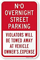 注意標識-夜間の路上駐車違反者は、通知のためにけん引されません。路上交通の危険屋外防水および防錆金属錫標識
