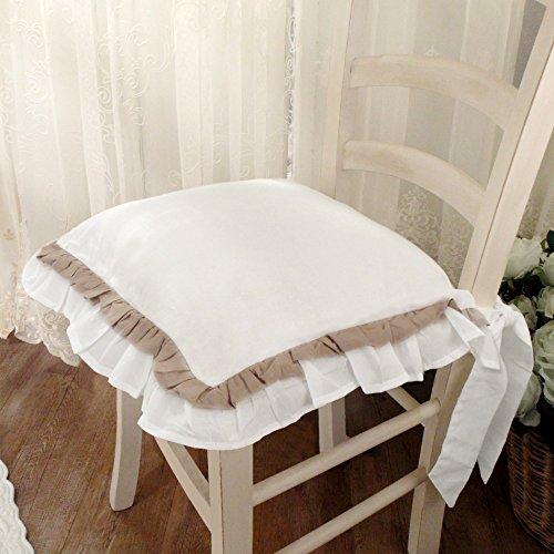 AT17 Cuscino per Sedia Shabby Chic Sucre Bicolor Collection 40 x 40 Colore Bianco/Tortora