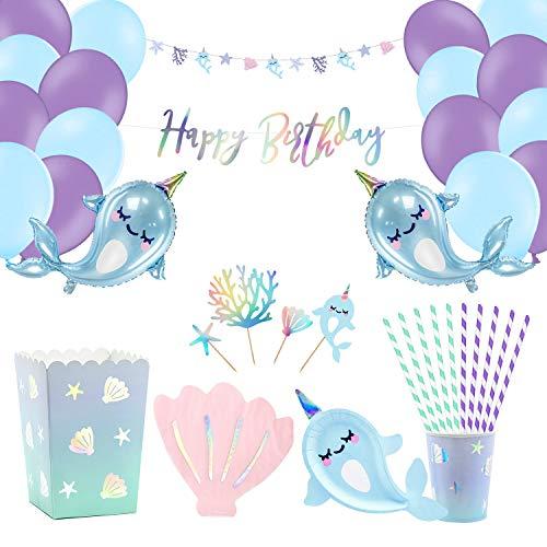 Children's Birthday Decoration Happy Birthday Garland and Foil Balloons Nursery Decoration Party Accessory Set Birthday Party Decorations for Children Girls Plates Cups Utensils (18 Guest Pack)