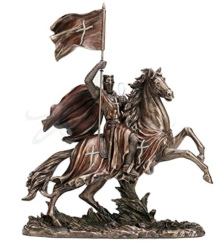 12' Crusader Riding on Horse Statue Knights Templar Sculpture Medieval Times