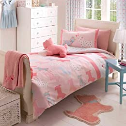 girls pink Scottie Dog Duvet bedding set - by Catherine Lansfield