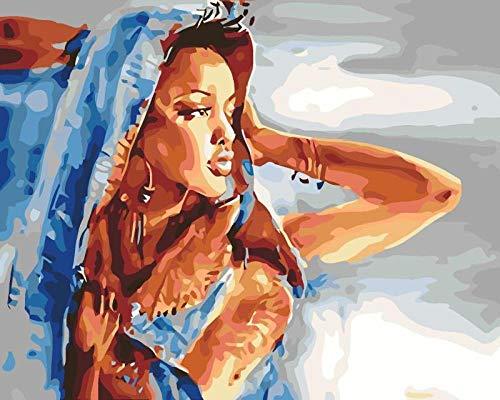 SFDFSDV Blaue Turbanfrau,Malen Nach Zahlen Erwachsene Vorgedruckt Leinwand Geschenk für Kinder Ölgemälde mit 40 x 50 cm für Home Haus Dekor Gemälde Handgemalt...