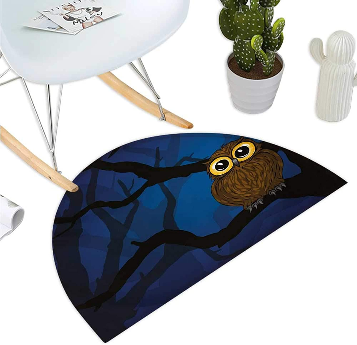Night Half Round Door mats Cute Owl Sitting on a Tree Branch Mysterious Woods Spooky Forest Cartoon Entry Door Mat H 39.3  xD 59  Navy bluee Black Brown
