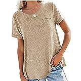 WXDSNH Camisetas Básicas Sólidas para Mujer Camisetas De Verano De Manga Corta Camiseta Holgada Informal con Bolsillo En El Pecho Camisetas De Cuello Redondo
