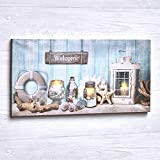 The Lakeside Collection Lighted Nautical LED Wall Art Canvas with On/Off Switch - Ready to Hang