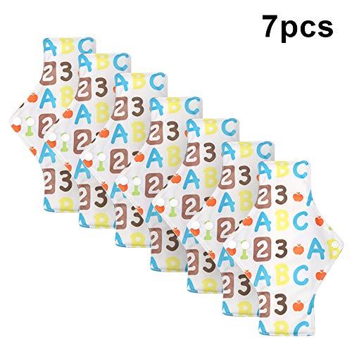 Wiederverwendbare, 7 PCS Mutterschaft Pad, Waschbare Wiederverwendbare Stoffbinden mit Flügeln, Menstruationstuch mit Bambusgewebe 9.8 * 7.1 Zoll(A55)