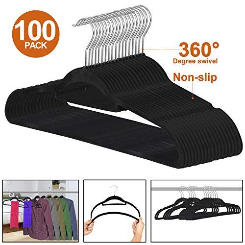 ZENY Premium Velvet Suit Hangers 100 Pack Non Slip Black Clothes Hanger Hook 360 Swivel Ultra Thin