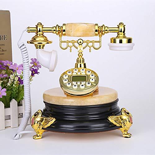Wanjun Teléfonos Retro, Teléfonos Rústicos De Estilo Europeo Hechos De Jade Hecho A Mano, Líneas Fijas Generales Anticuadas Clásicas, Teléfonos Antiguos,Black
