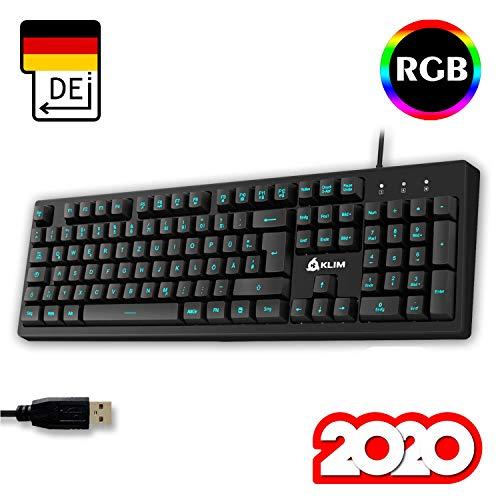 KLIM Bolt - Gaming Tastatur + Schneller und präziser Anschlag + Hinterleuchtete RGB Tastatur mit Multimedia-Steuerung + 7 Farben und 3 Effekte + Kompatibel mit PC PS4 Xbox One + Schwarz + NEU 2020