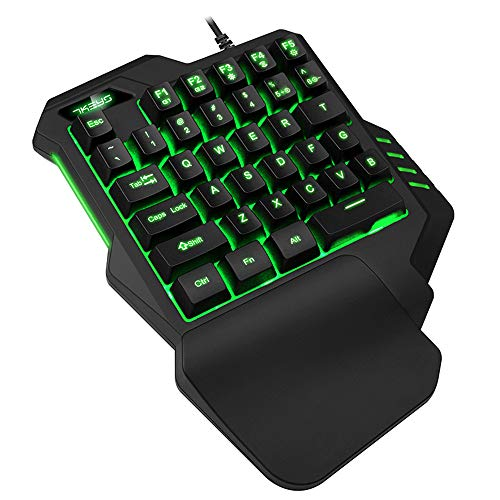 Guanwen Gaming-toetsenbord, mechanisch gevoel, RGB, achtergrondverlichting, mini-toetsen, 35 toetsen, ergonomisch, Esports Palm Rest eenhands toetsenbord voor PC laptop