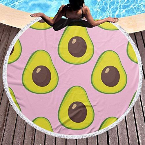 Rundes Strandtuch, Kalifornien Avoca Pink Handtuch Sanddichte Decke mit Quasten 150 cm Durchmesser