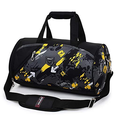 TFTREE Sporttasche weibliche Fitness Diagonaltasche, mit Schuhfach, Zylinder Sporttasche männliche Handtasche Yogatasche weiche und leichte Reisetasche-black
