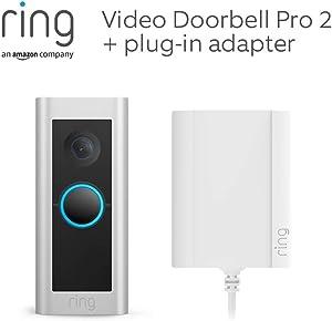 Ring Video Doorbell Pro 2 met stekkeradapter van Amazon   HD-video, zicht van top tot teen, 3D-bewegingsdetectie, met een gratis proefperiode van 30 dagen Ring Protect
