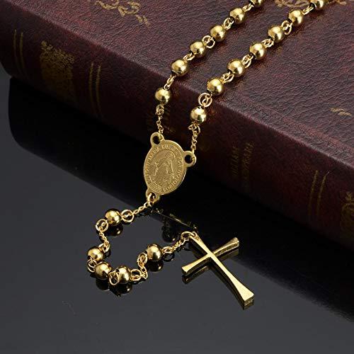 Collar con Colgante de Cruz de Jesús, Acero Inoxidable, Color Dorado para Mujeres, joyería Cristiana Religiosa, Cuentas de Rosario, Regalos Simples