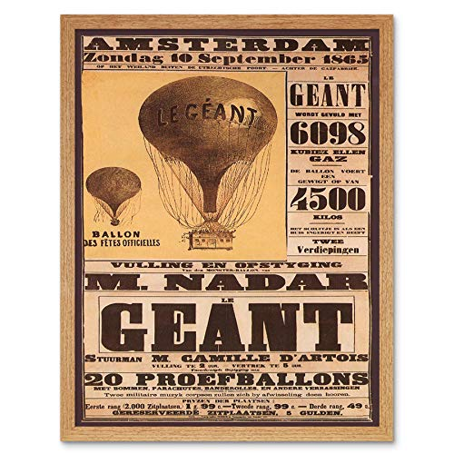 Wee Blue Coo LTD Exhibition Aviation Giant Balloon Amsterdam Netherlands Vintage Art Print Framed Poster Wall Decor Kunstdruk Poster Wanddecoratie 12X16 inch