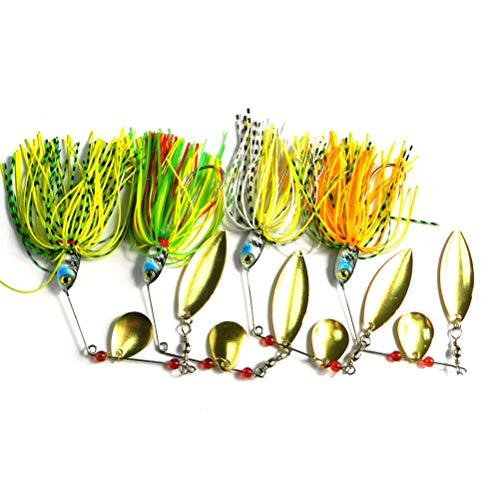 BASOYO Señuelos de Pesca Spinners Baits Spinnerbait Spoon Set con Bolsa de Aparejos Trucha Bass Salmon Pike Walleye Perch 4pcs