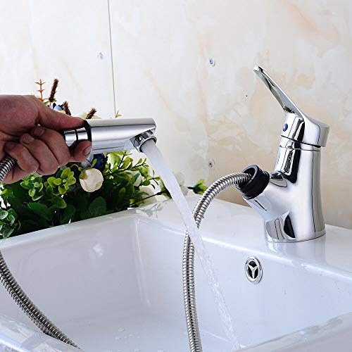 Eengreepsmengkraan met uittrekbare slang, douchekop YUNRUX Retro keukenkraan badkraan eengreeps mengkraan wastafel armatuur eenhandsmengkraan badkamer faucet