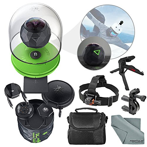 360Fly 4K Action Camera and Accessory Bundle with Camera Mounts + XPIX Tripod + Case + Fibertique Cleaning Cloth