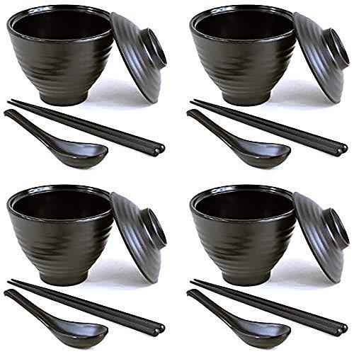 4 juegos (16 piezas) de cuencos de melamina estilo japonés tradicional con tapas a juego, cucharas y palillos en color negro