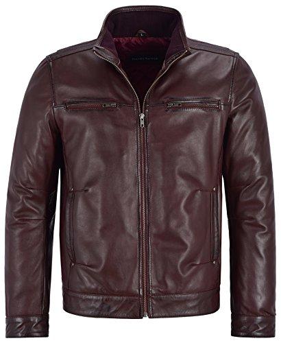 Smart Range Veste bomber pour homme en cuir véritable avec col classique et doux en peau d'agneau 99 - Rouge - Medium pour la poitrine 102 cm