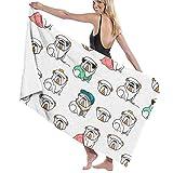 Serviette de plage humour Bulldog anglais, serviette de bain absorbante douce pour les sports de natation, serviette de voyage à serviettes à séchage rapide Hawiia d'été pour le bain, 80X130Cm