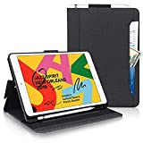 New iPad 10.2 Case 2020 iPad 8th Generation Case / 2019 iPad 7th Generation Case,Toplive Canvas Stand Folio Case Cover with Apple Pencil Holder,Auto Sleep/Wake and Multiple Viewing Angles,Black