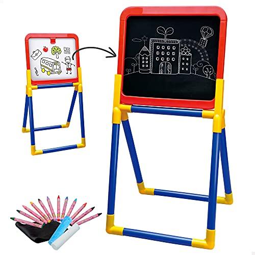 ColorBaby - Pizarra infantil, pizarra tiza y pizarra blanca 2 en 1, caballete pintura niños, Accesorios incluidos 12 pinturas de colores, borrador, 2 tizas, juguetes niños 3 años (43869)