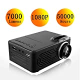 Dyna-Living - Mini proyector de 7000 lúmenes, videoproyector portátil Full HD, 4K 1080P LED Mini Retroproyector Home Cinema negro Negro