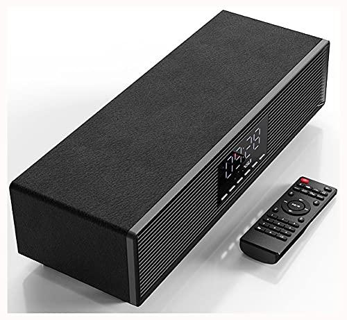 AERJMA Inalámbrico Bluetooth Altavoz Alto Volumen 3D Envolvente teléfono Escritorio Escritorio de Madera Retro Mini pequeño Audio portátil pequeño subwoofer en casa Sala de Black