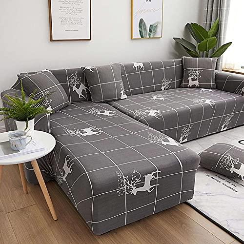 Unmbo L Forma Sofá Cover, para En Forma De L Sofá Seccional Couch Funda De Sofá Protector, 2 Pcs Soft Stretch Funda, con Cubiertas 2pcs Almohada-11-forma de L 3+3 plazas