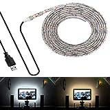 VAWAR Rétro-éclairage TV – 2M 120LED - blanc froid, barrette lumineuse LED USB...
