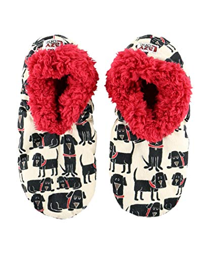 Lazy One Fuzzy Feet Slippers for Women, Cute Fleece-Lined House Slippers, Dog, Black Lab, Non-Skid