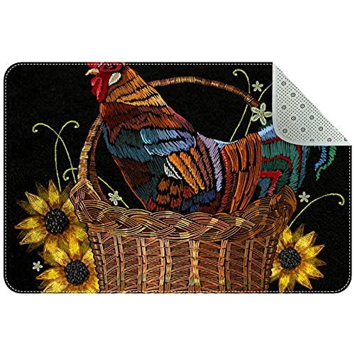 Yoliveya Felpudo suave con diseño de gallo en una cesta de bambú, absorbente, antideslizante, alfombra de goma para el hogar, oficina, 60 x 40 cm