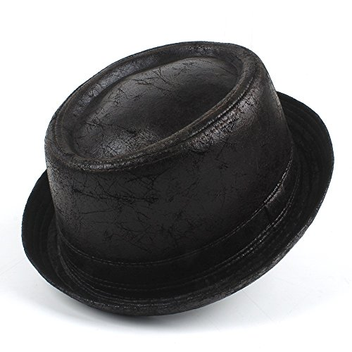 Fang-Gorros, Tarta de Cerdo de Cuero de la Vendimia Fedora Hat Hombres Boater Flat Top Hat para Caballero Jugador de Bolos Sombrero de Copa Grande Tamaño Dropshipping (Color : Black, Size : 58-59cm)