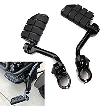 Rich Choices Motorcycle Highway Foot Pegs Footrest 1 1/4 32cm Highway Bar Footpegs Black for Electra Glide Road King Street Glide Engine Guard Bar Foot Rests