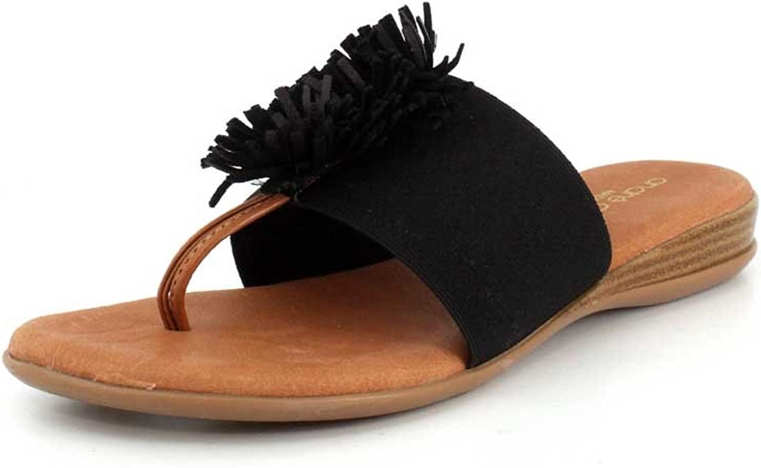 Andre Assous Women's Novalee in Black Stretch Elastic Suede Leather Fringe - Size 11 M