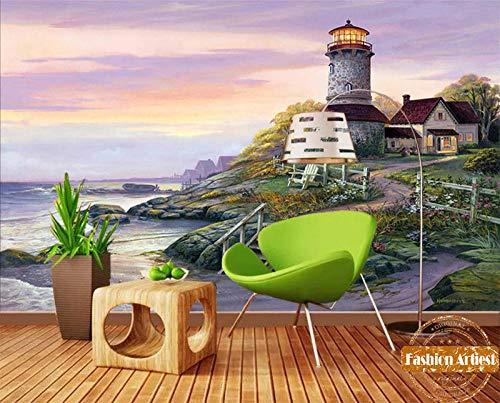 Puesta de sol en el mar personalizado mural lámpara casa de cristal faro pintura al óleo TV sofá dormitorio sala de estar cafetería bar restaurante400cm(W) x 288CM