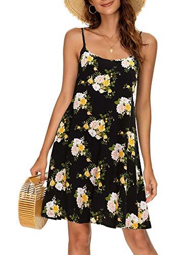 MSBASIC Strappy Dress Black Floral Sundresses for Women Black Floral