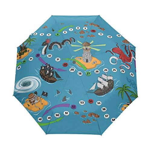 Orediy Automatischer faltbarer Regenschirm Piraten-Brettspiel, winddicht, kompakt, tragbar, Sonne, Regen, UV-beständiger Regenschirm