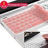 [2pack] Keyboard Cover for HP Envy x360 2-in-1 15.6' Laptop Series /2018 Newest HP Pavilion 15.6 inch Series /2018 HP Envy 17.3' 17M 17-BS 17-BW Series Touch-Screen Laptop Protective Skin (A-rosegold)