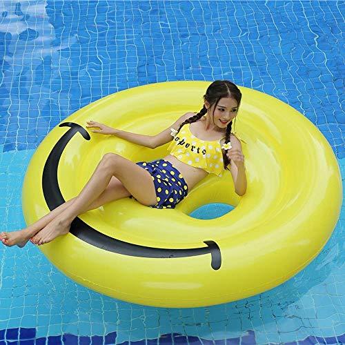 Gcxzb Schwimmreifen Luftbetten PVC-aufblasbare runde Ausdruck schwebende Entwässerung auf dem Surfen Regenbogen-Schwimmring-aufblasbares Lächeln