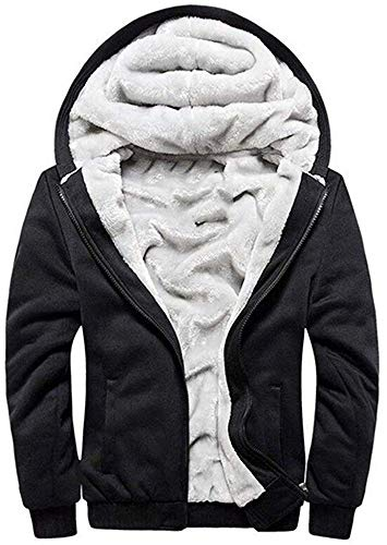 Uni-Wert Men's Pullover Winter Workout Fleece Hoodie Jackets Full Zip Wool Warm Thick Coats (4XL, Black)