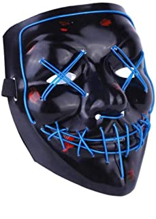 Halloween Mask LED Light Up Mask Cosplay EL Wire Scary Mask Costume for Men Women Blue
