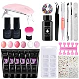 Kit de esmalte de uñas de gel - 6 colores Poly Extension Gel Starter Kit Polygel Extension Nail con mini UV / LED Lámpara UV Poly Gelnail Set Lámpara UV Kit de extensión de uñas Nail Starter Set